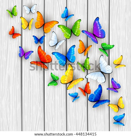 Set of multicolored butterflies on white wooden background, illustration. - stock photo