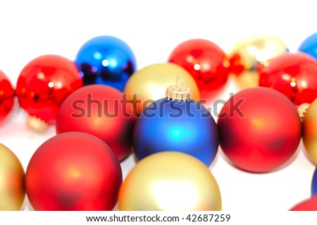 Set of multicolored Christmas balls