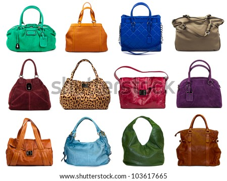 Set of multicolored female bags on a white background.12 pieces. - stock photo