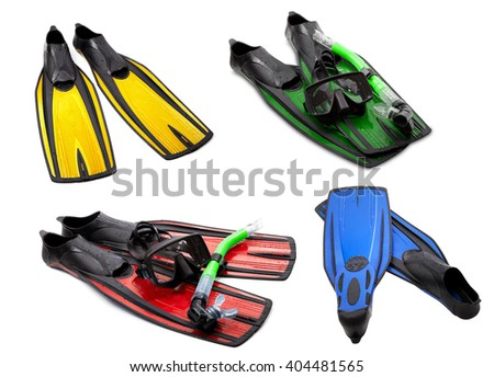 Set of multicolored flippers, mask, snorkel for diving with water drops. Isolated on white background. - stock photo