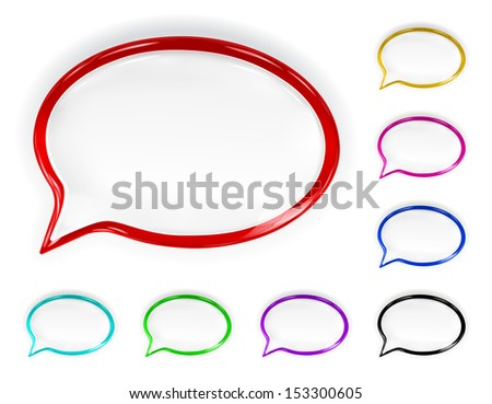 Set of multicolored glossy speech bubbles with glare and shadows. Raster version. - stock photo