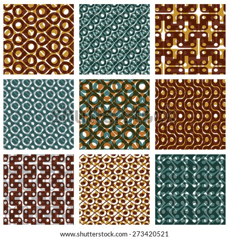 Set of multicolored grate seamless patterns with parallel ribbons and geometric figures, transparent symmetric bright wavy tiles - stock photo