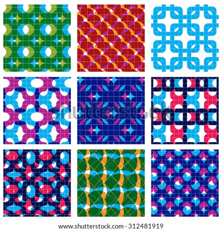 Set of multicolored grate seamless patterns with parallel ribbons and geometric figures, transparent symmetric bright wavy tiles. Geometric surface textures with squares, colorful abstract tiling. - stock photo