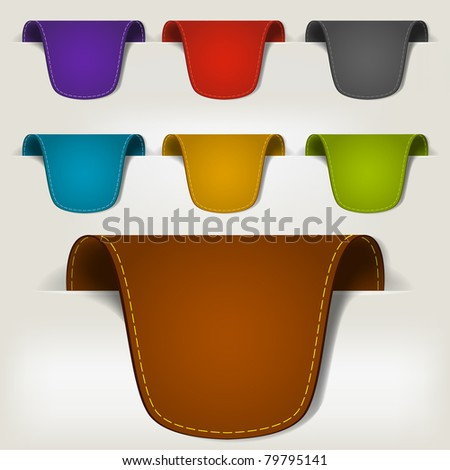 Set of multicolored leather tag labels - stock photo