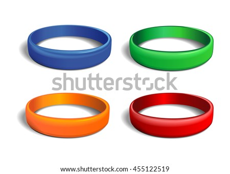 Set of multicolored plastics wristband. Friendship band isolated on white background. Realistic illustration for International Friendship Day