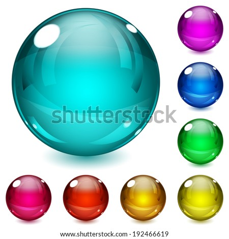 Set of multicolored spheres with shadows. Raster version. - stock photo