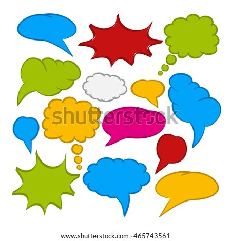 Set of multicoloured comic speech bubbles on white background - Illustration
