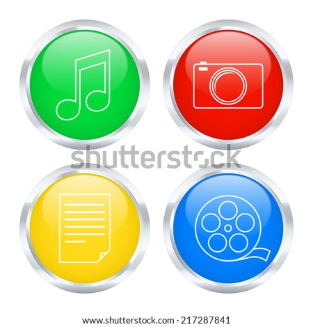 Set of multimedia icons. 2d illustration - stock photo