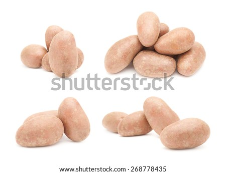 Set of multiple brown atlantic potatoes compositions isolated over the white background - stock photo