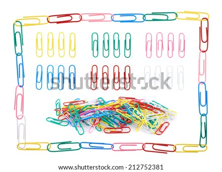 Set of multiple colorful office paper clips in different compositions, isolated over the white background - stock photo