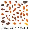 Set of multiple dried fruits raisins isolated over the white background, top view above - stock photo