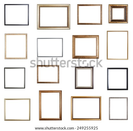Set of multiple empty copyspace wooden picture frames with with the shadow drops, isolated over the white background - stock photo