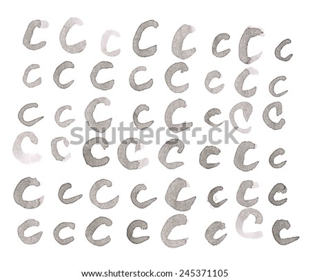 Set of multiple hand drawn with black watercolor ink C letters isolated over the white background - stock photo