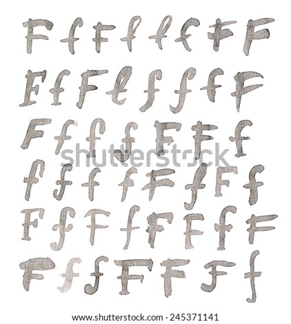 Set of multiple hand drawn with black watercolor ink F letters isolated over the white background - stock photo