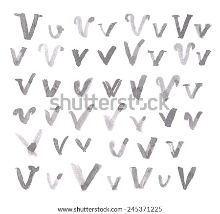 Set of multiple hand drawn with black watercolor ink V letters isolated over the white background - stock photo