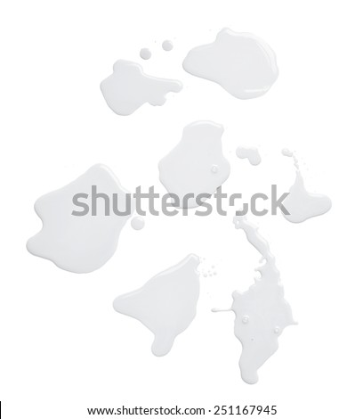Set of multiple puddles of an oil paint spill isolated over the white background, top view above - stock photo