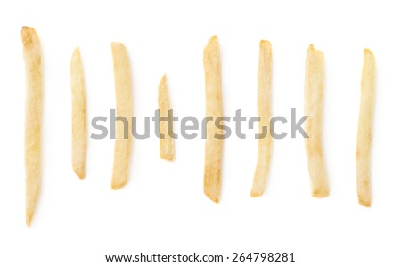 Set of multiple single potato french fries isolated over the white background - stock photo