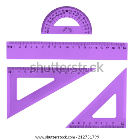 Set of multiple violet colored plastic rulers and the protractor, isolated over the white background - stock photo