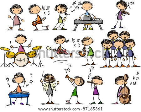 set of Music Doodles - stock photo