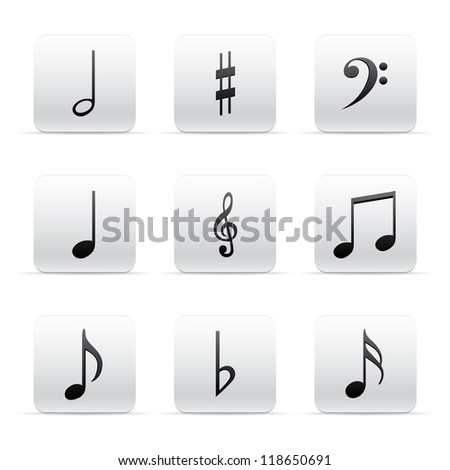 Set of Music Notes - stock photo