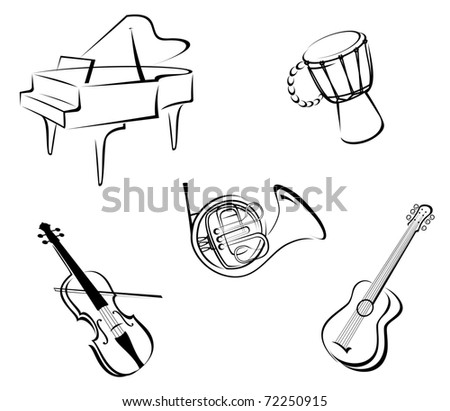 Set of musical instruments for music design. Vector version also available in gallery