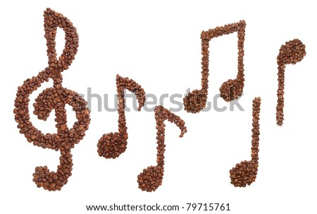 Set of musical symbols formed of coffee beans -  isolated - stock photo