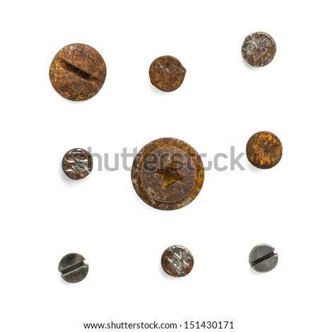 Set of nail head isolated on white background - stock photo