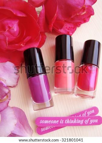 Set of nail polish - stock photo