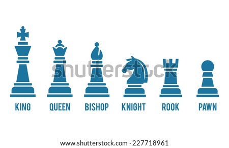 Set of named chess piece icons in blue silhouettes on white showing the king  queen  rook  bishop  knight  and pawn - stock photo