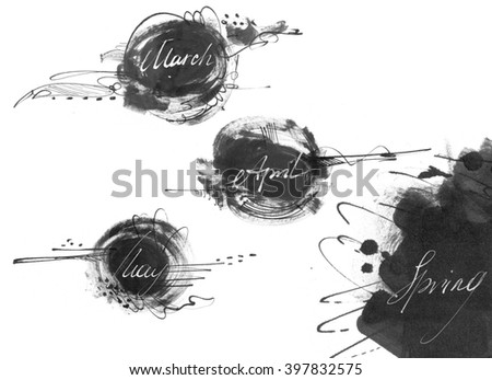Set of names of spring month (march, april, may), drawn by hand with liquid ink dye, in freehand style. Large raster illustration, grainy, stylish, with blobs and brush smears, isolated on white. - stock photo