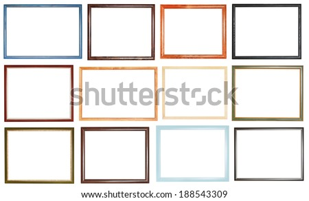 set of narrow simple picture frames with cut out canvas isolated on white background - stock photo