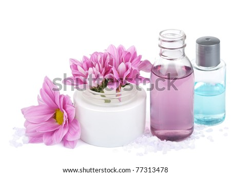set of natural cosmetic isolated - stock photo