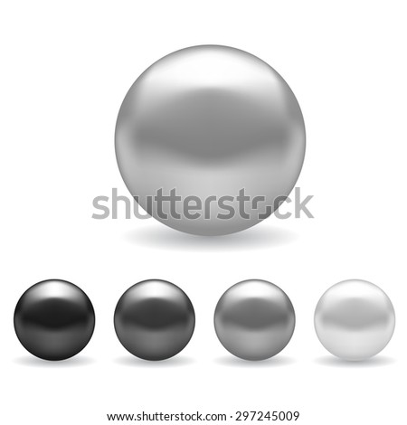 Different Shades Of Gray chrome metal ball drop black shadow stock vector 86803210