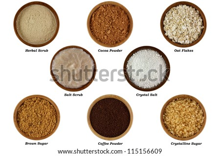Set of Natural Products to Make Facial or Body Scrub, Isolated on white background - stock photo