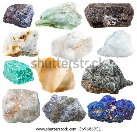 set of natural rocks and stones - tourmaline dravite, talc, azurite, galena, iceland spar, cuprite, amazonite, magnesite, gneiss, quartz, flint, marble gem stones isolated on white background