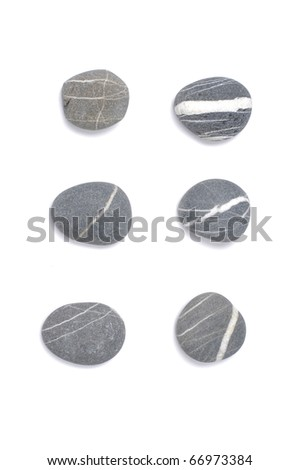 Set of natural sea striped stones - stock photo