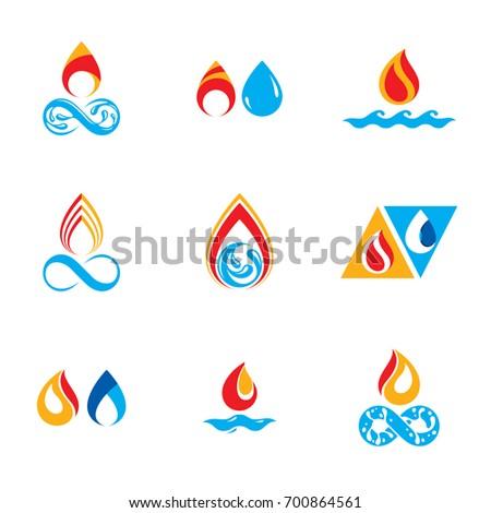 Set Nature Power Symbols Composition Water Stock Illustration