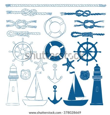 Set of nautical elements. Blue marine background. Rope, the wheel, lighthouse, anchor, starfish, boat, shell, life preserver. Linear. Outline.