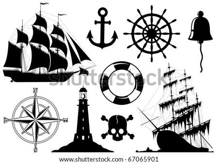 Set of Nautical Icons isolated on white background. Raster version of the image. - stock photo