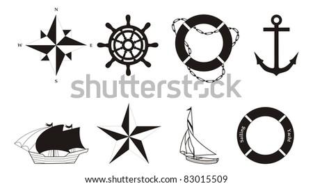 Set of nautical symbols - illustration - stock photo