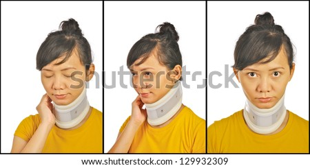 Set of neck support images on asian woman - stock photo
