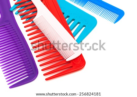 Set of new comb on a white background - stock photo