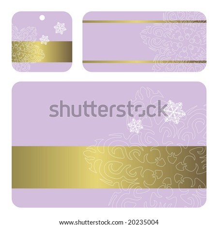 Set of New Year's card and gift tags