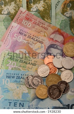 Set of New Zealand Currency. $100 $50 $20 $10 $2 $1 50c 20c 10c - stock photo
