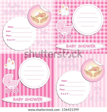 Set of newborn girl baby shower announcement invitation cards