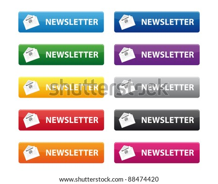 Set of newsletter buttons in various colors. Vector available.