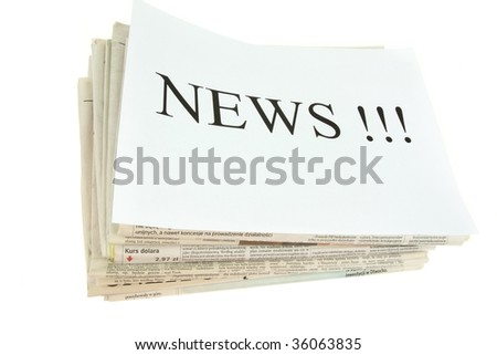 set of newspapers with word news, isolated on white background - stock photo