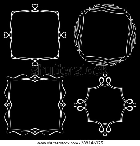 Set of nice decorative frames with ornament. Raster version - stock photo