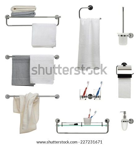 Set of nine bathroom objects - towel racks, toothbrush holder, toilet paper and soap dispensers - stock photo