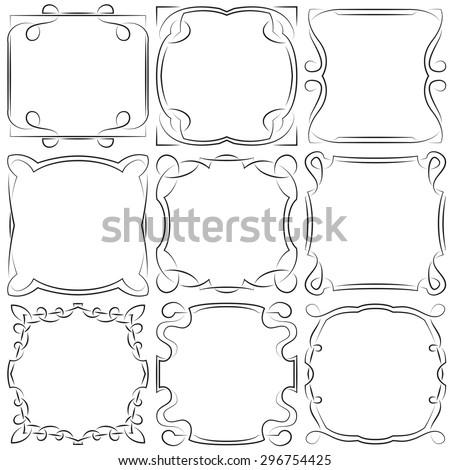 set of nine beautiful square frames - stock photo
